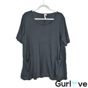 Pure Jill L Black Pima Cotton Pockets Tunic Top